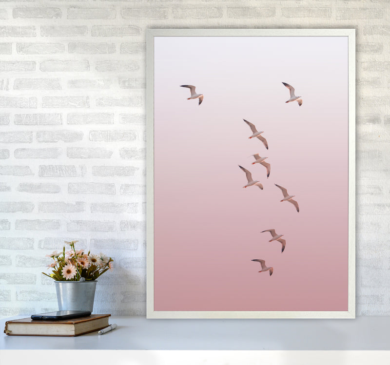 Birds in the Sky-pink Photography Print by Victoria Frost A1 Oak Frame