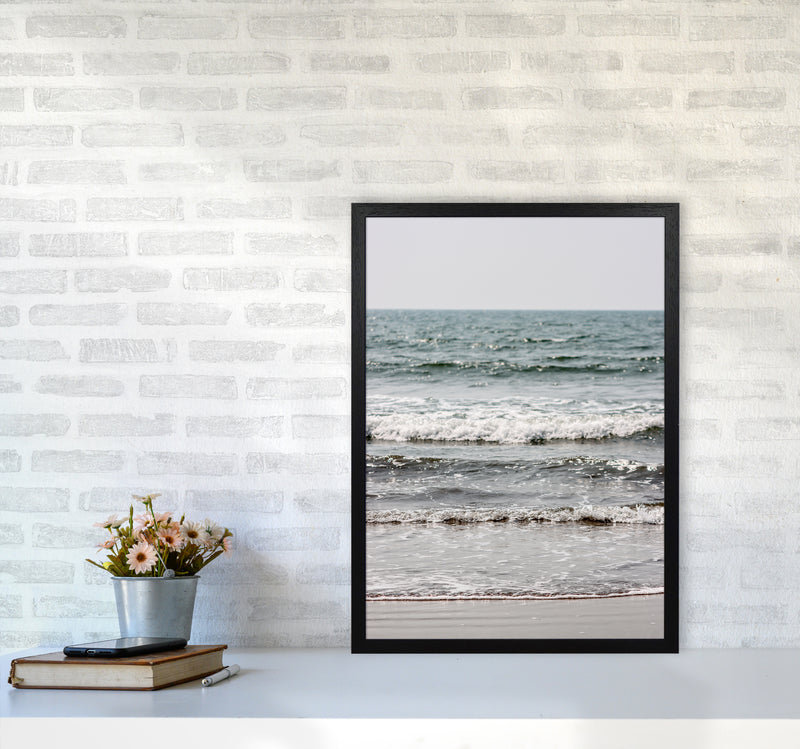 Blue Beach Waves Photography Print by Victoria Frost A2 White Frame