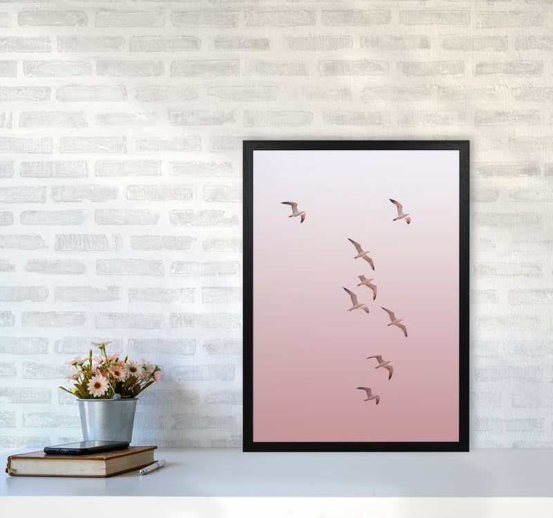 Birds in the Sky-pink Photography Print by Victoria Frost A2 White Frame