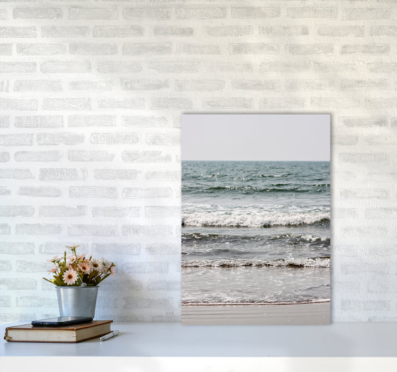 Blue Beach Waves Photography Print by Victoria Frost A2 Black Frame