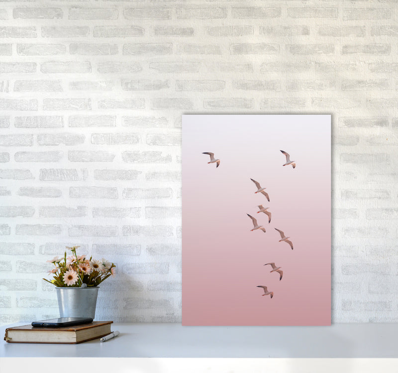 Birds in the Sky-pink Photography Print by Victoria Frost A2 Black Frame