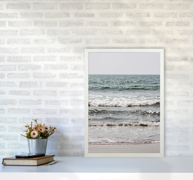 Blue Beach Waves Photography Print by Victoria Frost A2 Oak Frame
