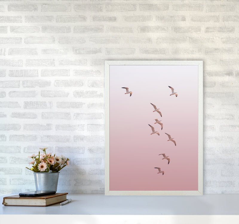 Birds in the Sky-pink Photography Print by Victoria Frost A2 Oak Frame