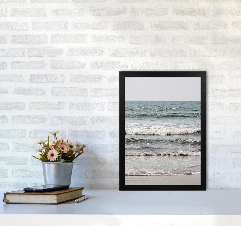 Blue Beach Waves Photography Print by Victoria Frost A3 White Frame