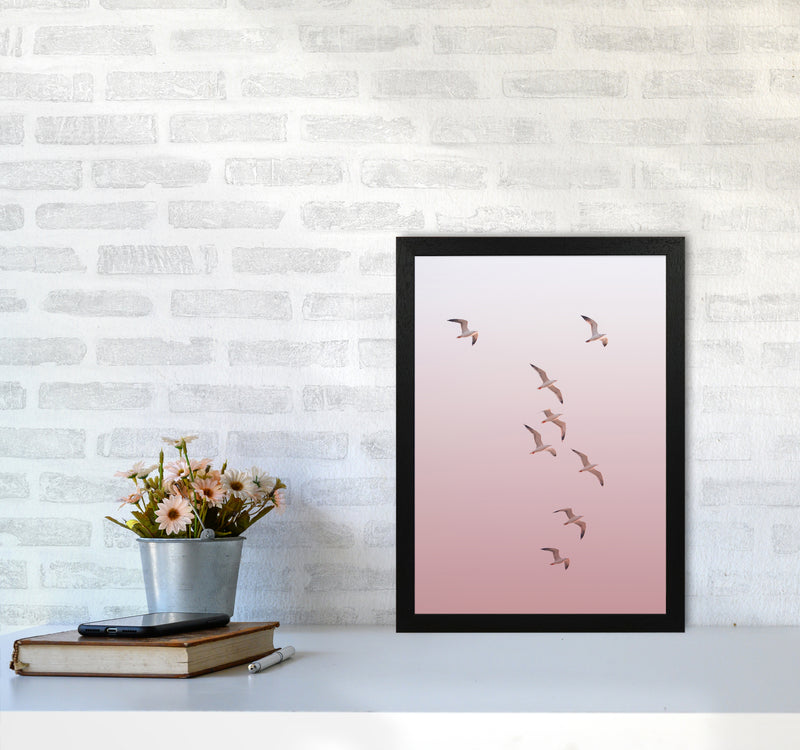 Birds in the Sky-pink Photography Print by Victoria Frost A3 White Frame