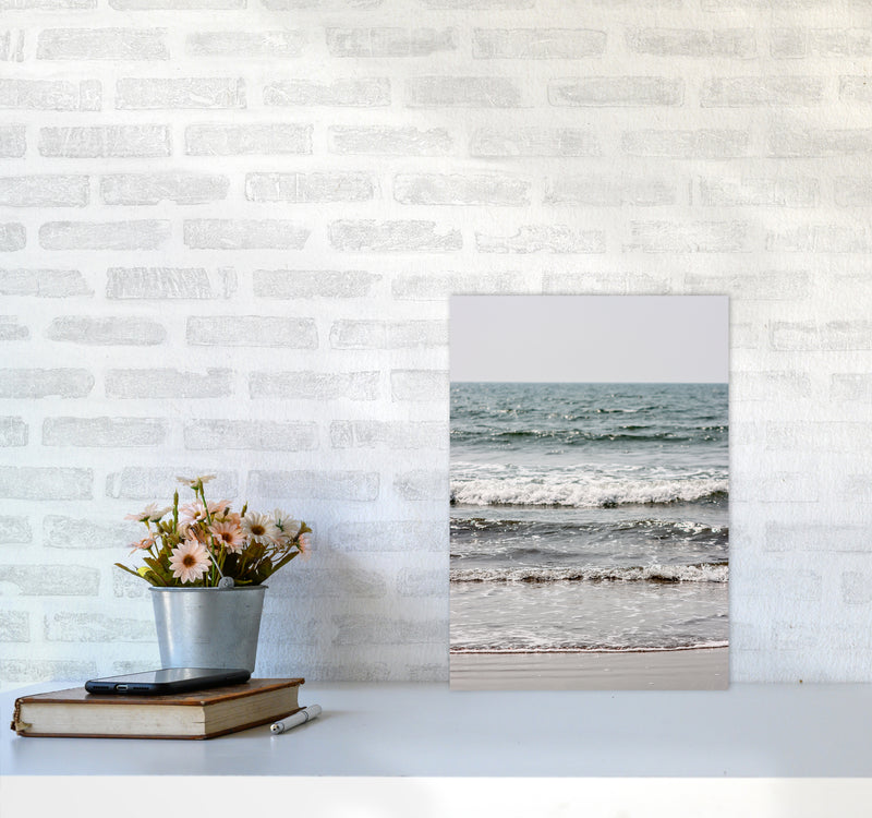Blue Beach Waves Photography Print by Victoria Frost A3 Black Frame