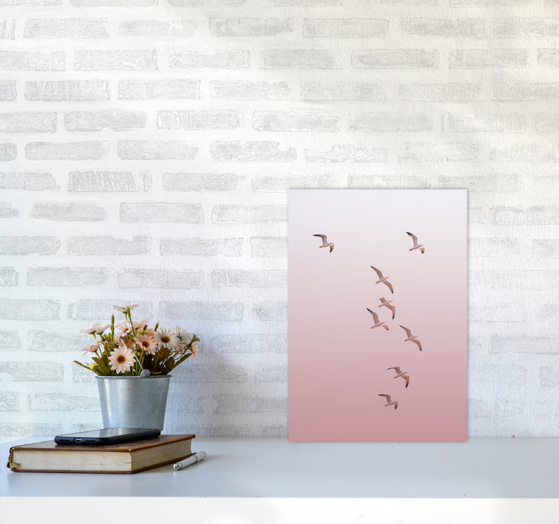 Birds in the Sky-pink Photography Print by Victoria Frost A3 Black Frame