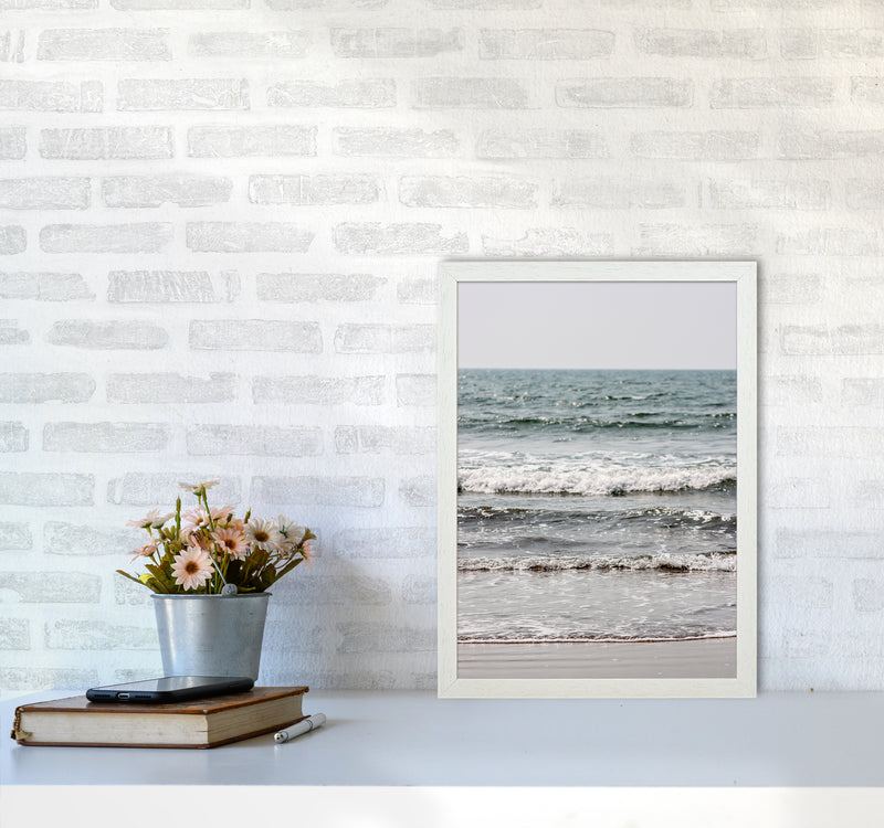 Blue Beach Waves Photography Print by Victoria Frost A3 Oak Frame