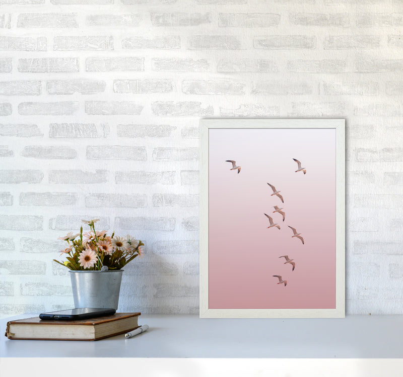 Birds in the Sky-pink Photography Print by Victoria Frost A3 Oak Frame