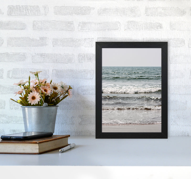 Blue Beach Waves Photography Print by Victoria Frost A4 White Frame