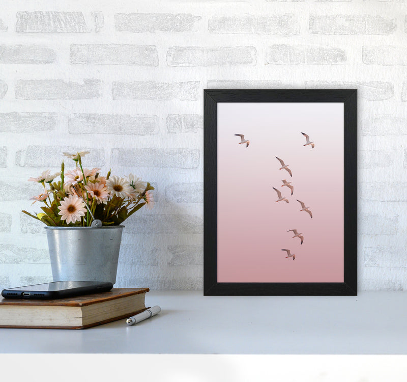 Birds in the Sky-pink Photography Print by Victoria Frost A4 White Frame