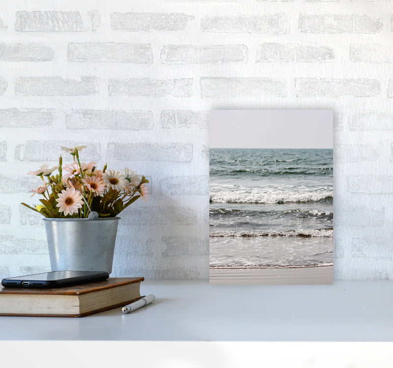 Blue Beach Waves Photography Print by Victoria Frost A4 Black Frame