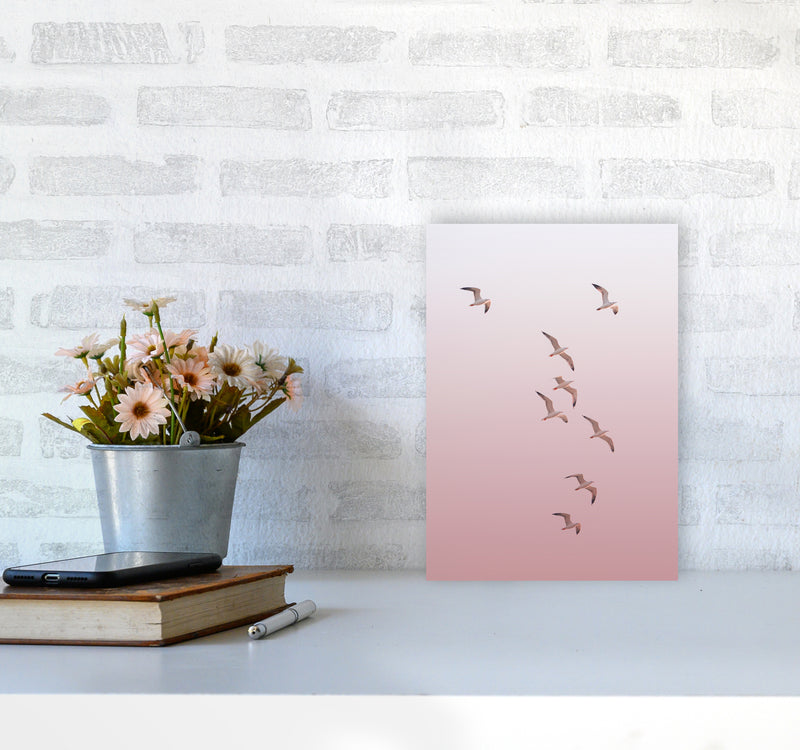 Birds in the Sky-pink Photography Print by Victoria Frost A4 Black Frame
