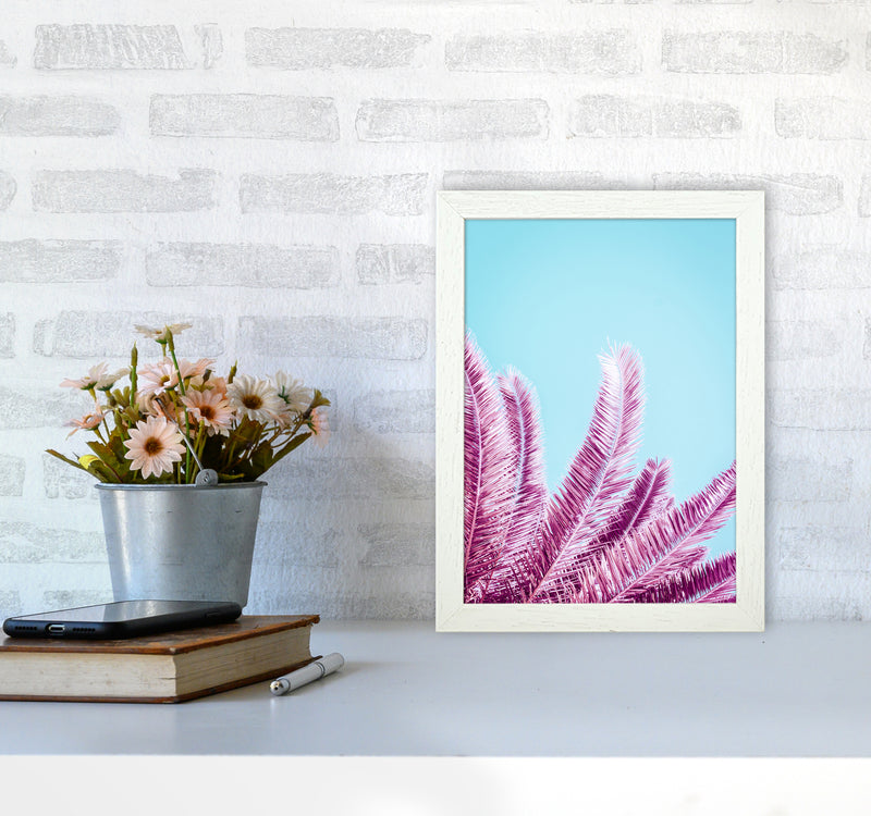 Pink Palm Trees Photography Print by Victoria Frost A4 Oak Frame