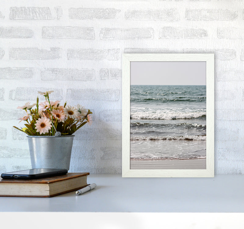 Blue Beach Waves Photography Print by Victoria Frost A4 Oak Frame