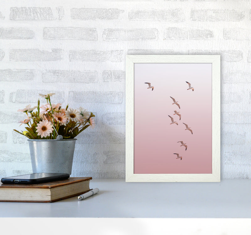 Birds in the Sky-pink Photography Print by Victoria Frost A4 Oak Frame