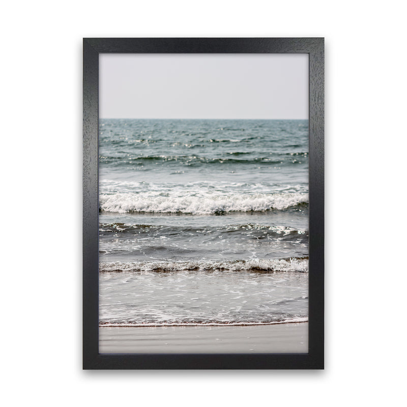 Blue Beach Waves Photography Print by Victoria Frost Black Grain
