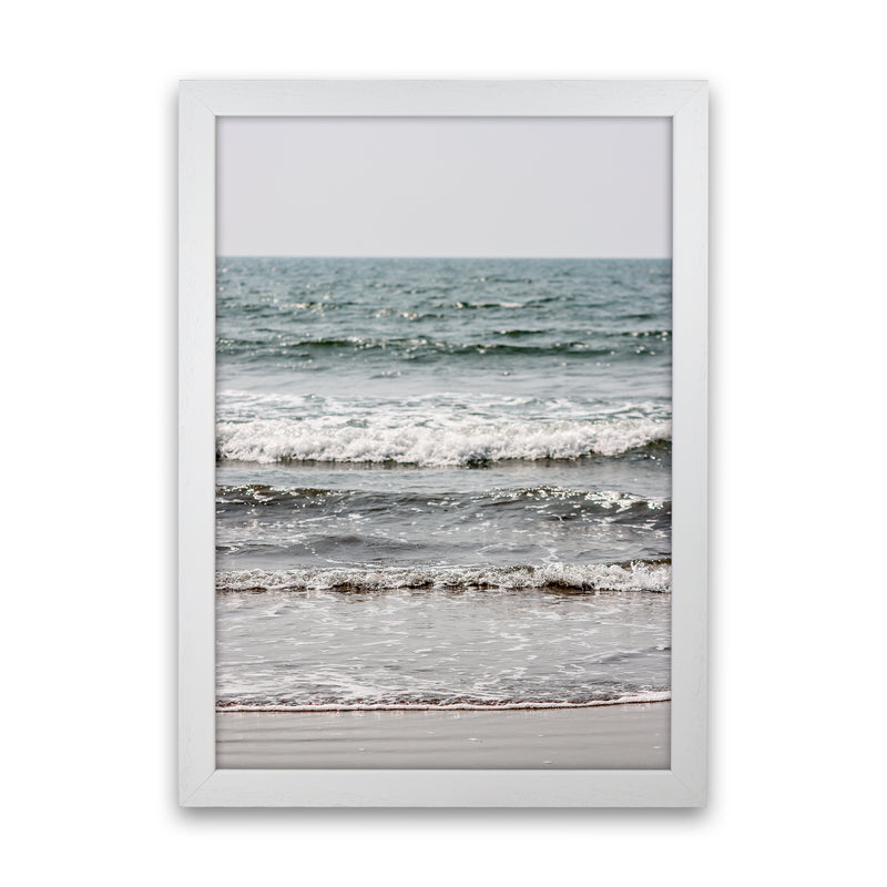 Blue Beach Waves Photography Print by Victoria Frost White Grain