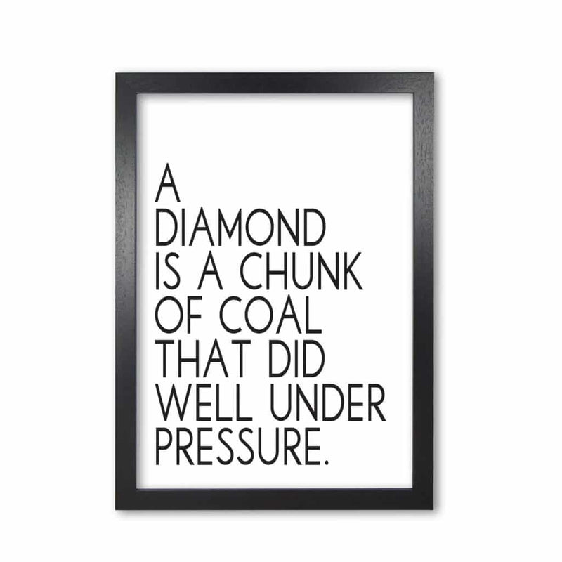 A diamond under pressure modern fine art print, framed typography wall art