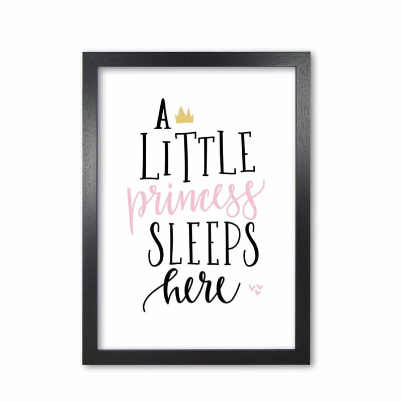 A little princess sleeps here modern fine art print, framed childrens nursey wall art poster