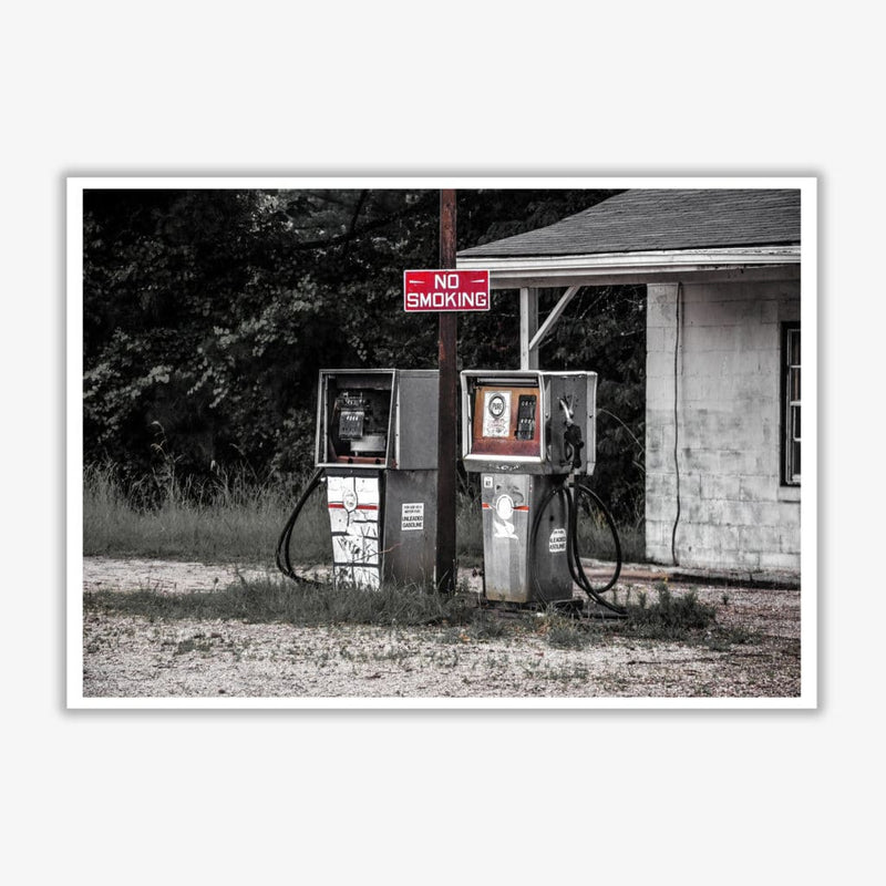 Abandoned gas pumps modern fine art print