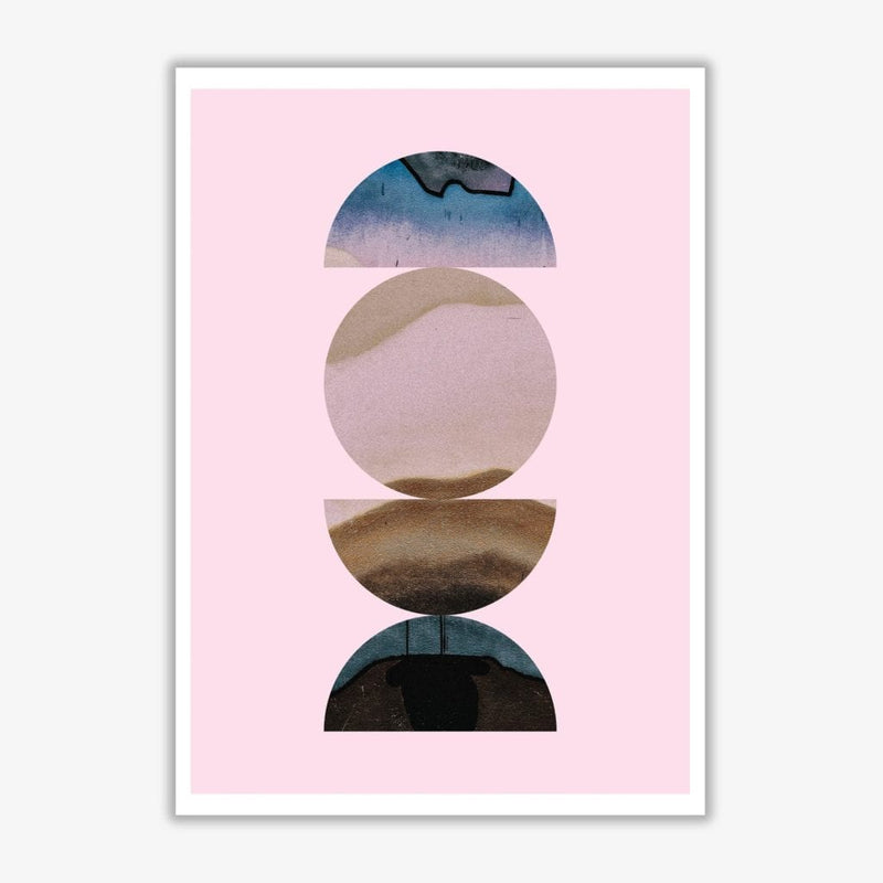 Abstract circles pink background modern fine art print