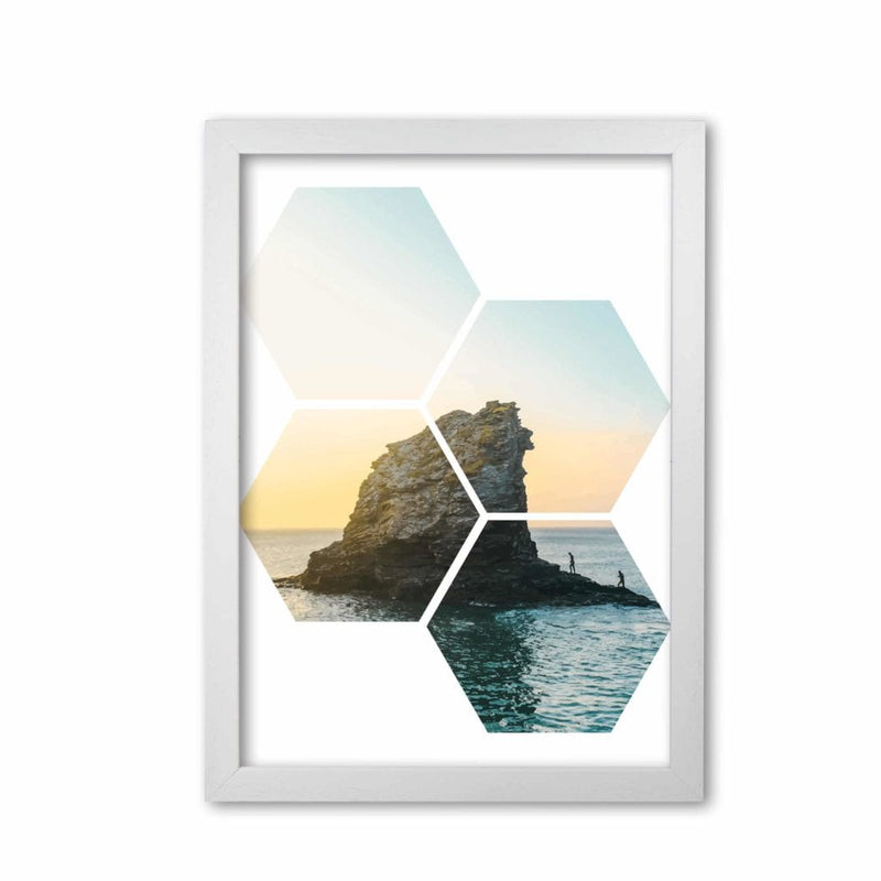 Abstract hex island and sea modern fine art print