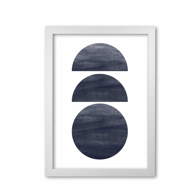 Abstract navy circles modern fine art print