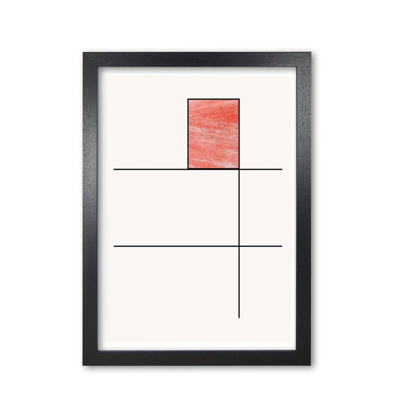 Abstract red crayon geo 2 modern fine art print