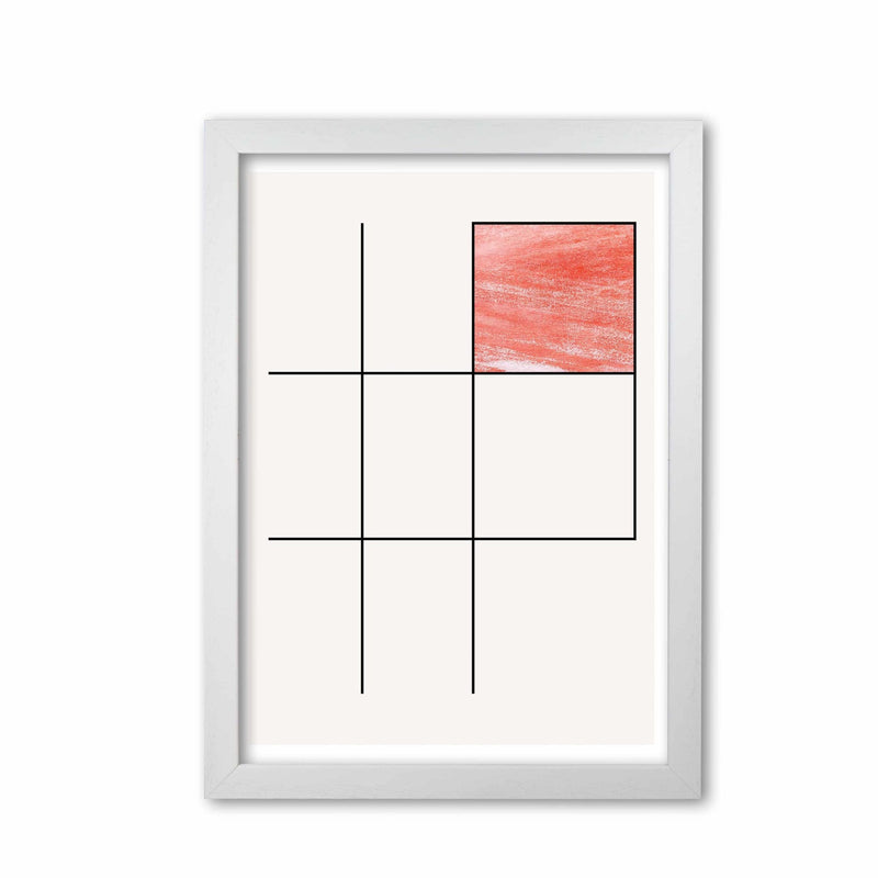 Abstract red crayon geo 3 modern fine art print