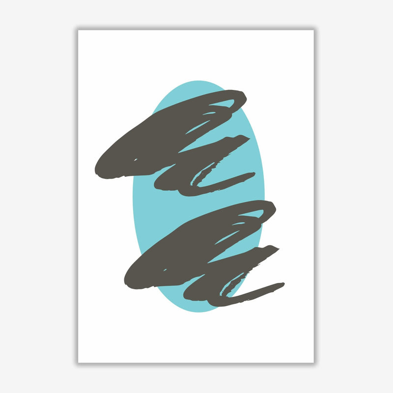 Abstract teal oval with brown strokes modern fine art print