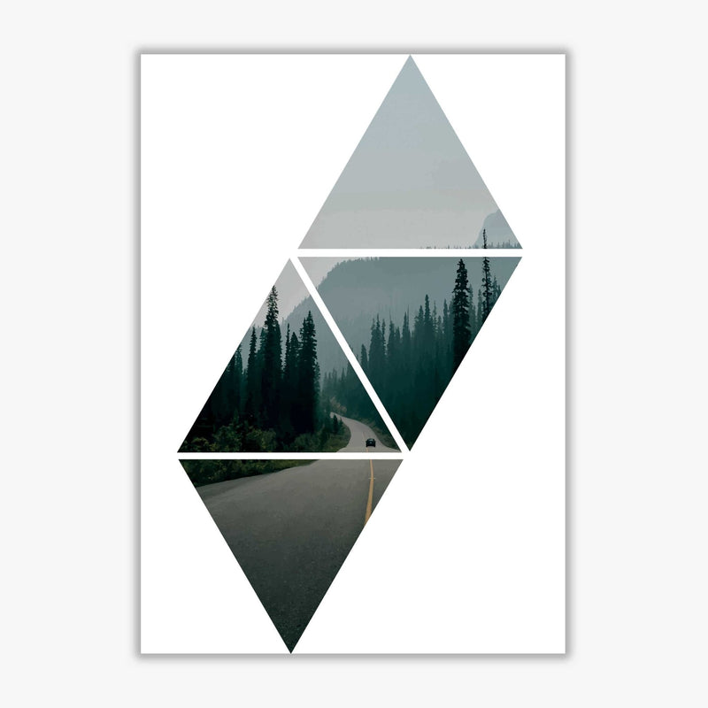 Abstract triangles and forest modern fine art print