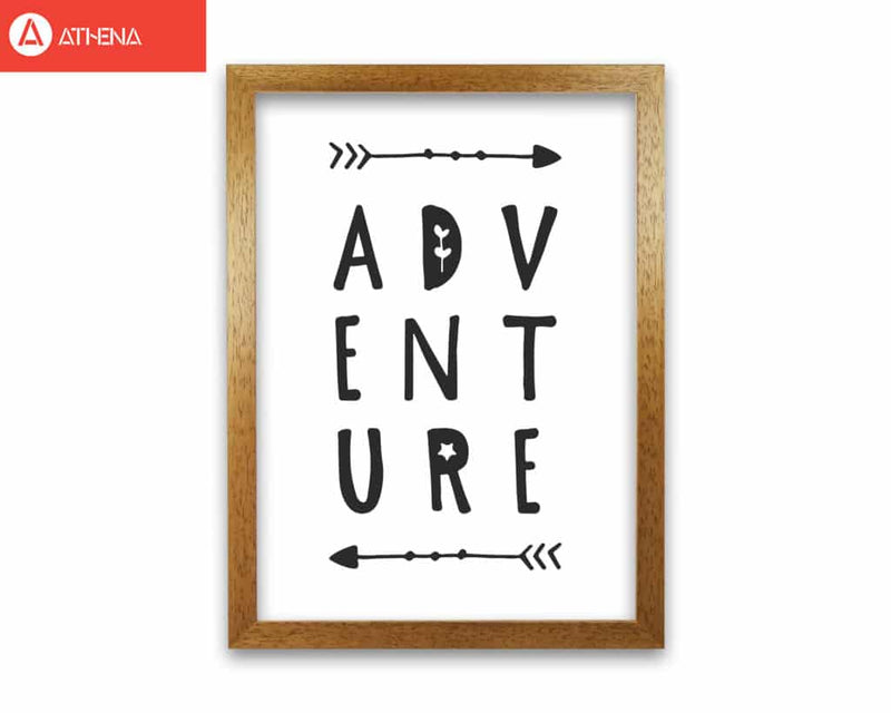 Adventure black modern fine art print, framed typography wall art