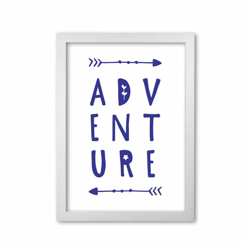 Adventure navy modern fine art print, framed typography wall art
