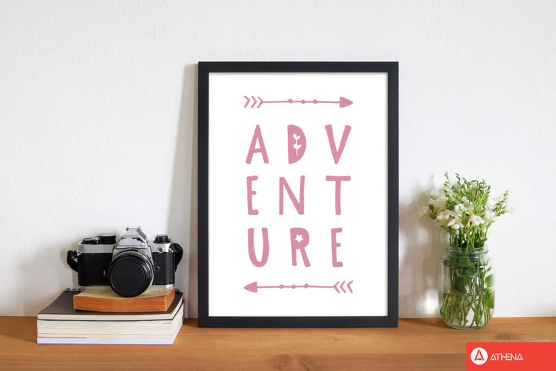 Adventure pink modern fine art print, framed typography wall art
