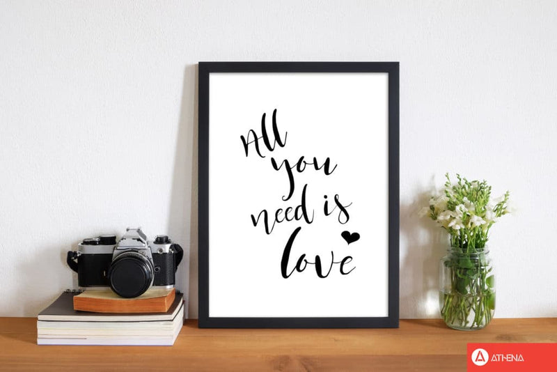 All you need is love modern fine art print, framed typography wall art