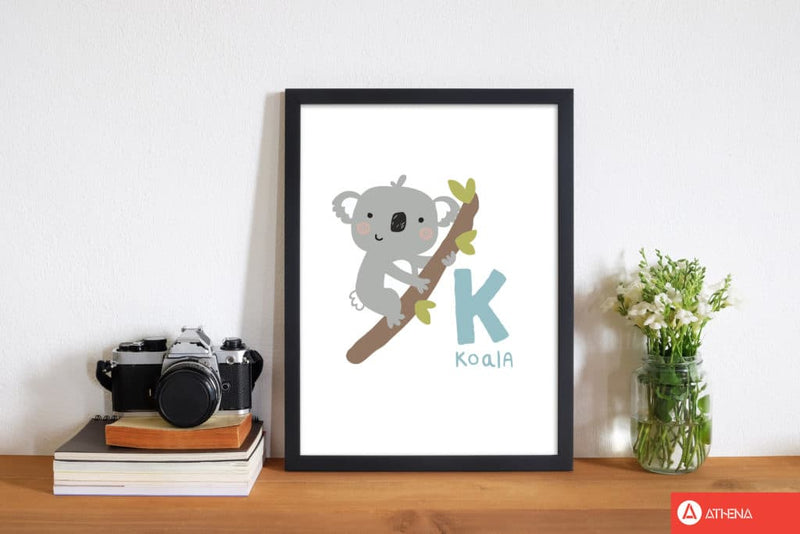 Alphabet animals, k is for koala modern fine art print, framed childrens nursey wall art poster