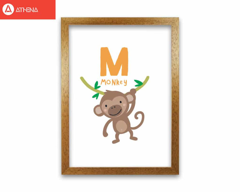 Alphabet animals, m is for monkey modern fine art print, framed childrens nursey wall art poster