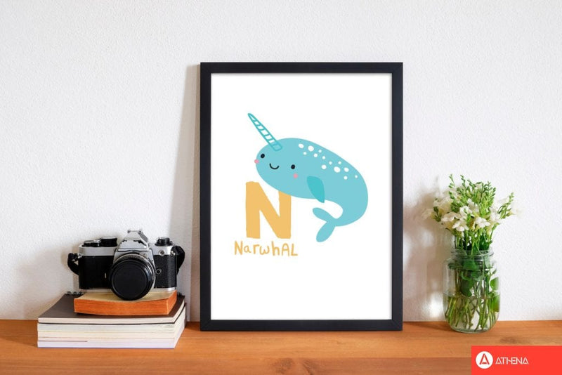 Alphabet animals, n is for narwhal modern fine art print, framed childrens nursey wall art poster