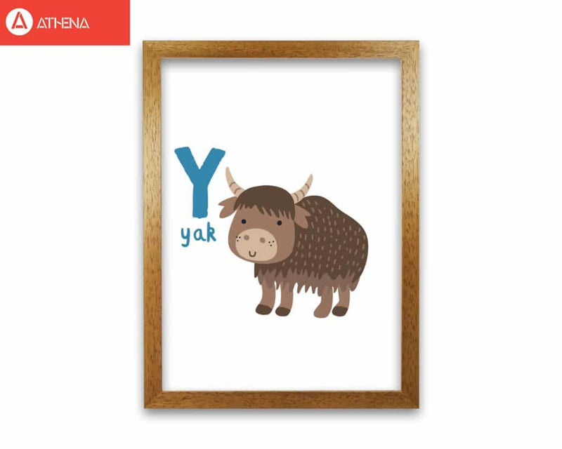 Alphabet animals, y is for yak modern fine art print, framed childrens nursey wall art poster