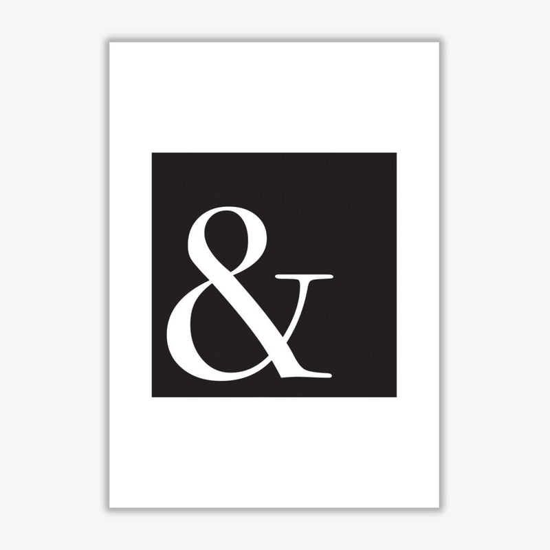 Ampersand black modern fine art print, framed typography wall art