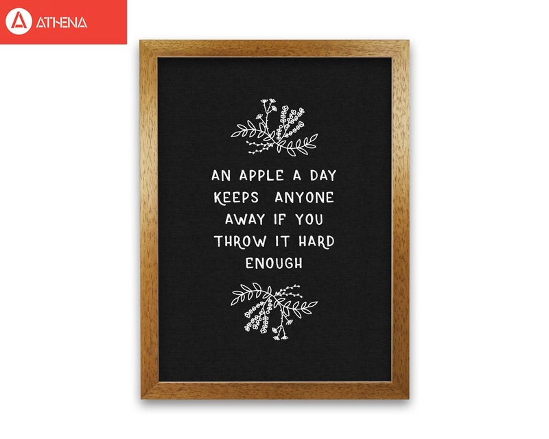 An apple a day funny quote fine art print by orara studio