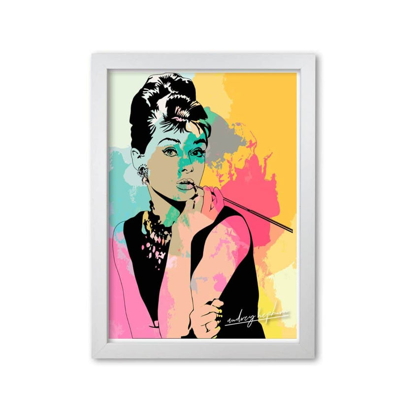 Audrey hepburn in colour modern fine art print