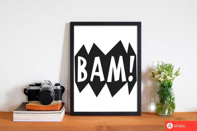 Bam! black modern fine art print, framed childrens nursey wall art poster