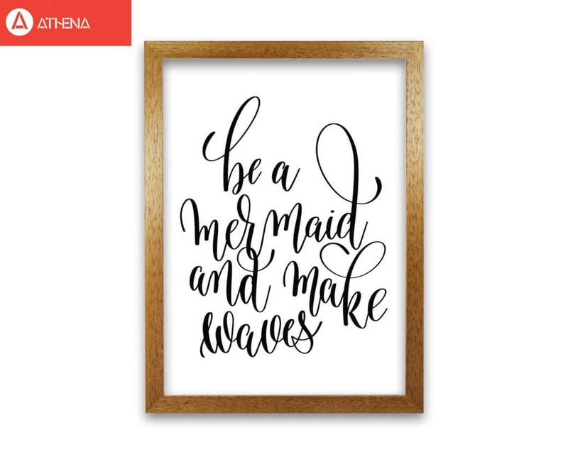 Be a mermaid black modern fine art print, framed typography wall art