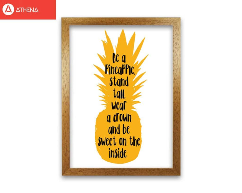 Be a pineapple yellow modern fine art print, framed typography wall art