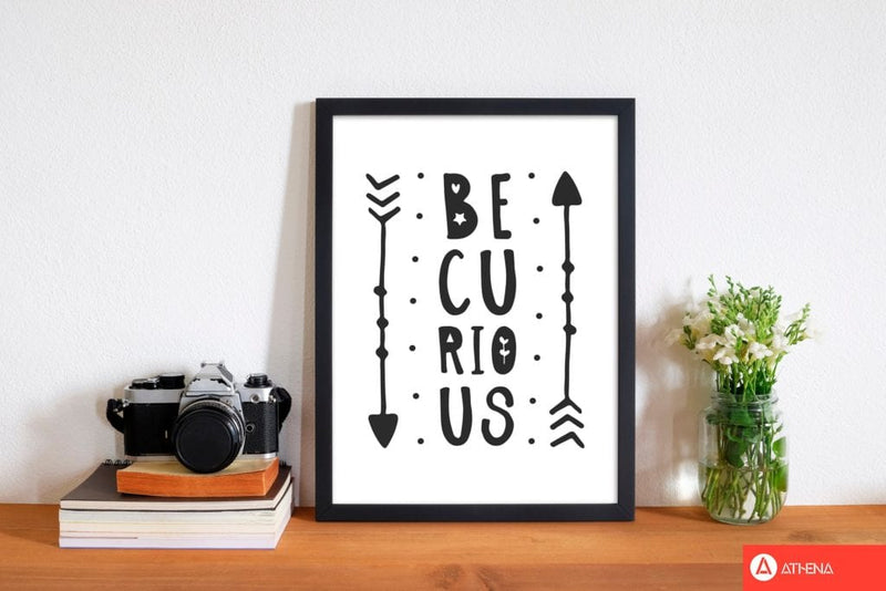 Be curious black modern fine art print, framed typography wall art