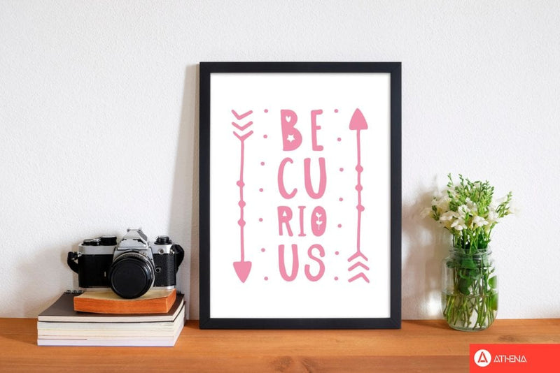 Be curious pink modern fine art print, framed typography wall art
