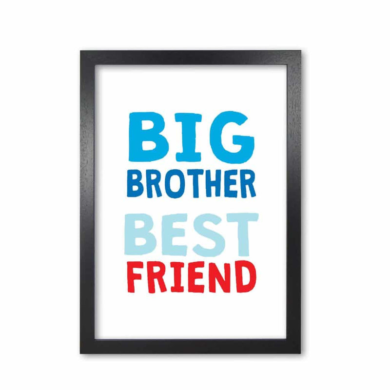 Big brother best friend blue modern fine art print, framed typography wall art