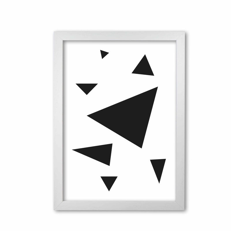 Black abstract triangles modern fine art print